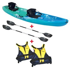 PACK KAYAK SIT ON TOP BI-PLACE OCEAN KAYAK MALIBU TWO + DOSSERETS + PAGAIES + GILETS