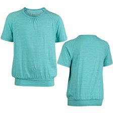 TEE SHIRT MANCHES COURTES QUECHUA TECHWOOL FILLE JUNIOR TURQUOISE