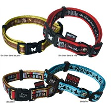 A DOG IN THE CITY NYLON ADJUSTABLE DOG COLLAR MARTIN SELLIER COLLECTION IMPRIMEE