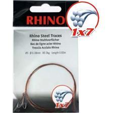Leaders Rhino BAS DE LIGNE TRESSE ACIER 1X7 BOUCLE ET HAMECON DOUBLE 60CM 21/100