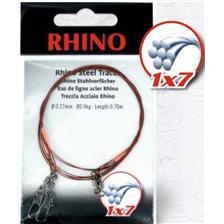 Leaders Rhino BAS DE LIGNE TRESSE ACIER 1X7 EMERILLON BOMBE ET EMERILLON DE SECURITE 70CM 27/100
