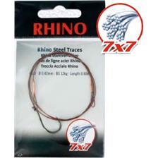 Leaders Rhino BAS DE LIGNE TRESSE ACIER 7X7 BOUCLE ET HAMECON SIMPLE 60CM 45/100