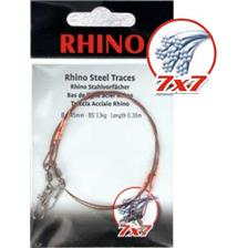 Leaders Rhino BAS DE LIGNE TRESSE ACIER 7X7 EMERILLON BOMBE ET EMERILLON DE SECURITE 50CM 35/100