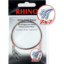 Leaders Rhino BAS DE LIGNE TRESSE ACIER 7X7 EMERILLON ET AGRAFE 50CM 42/100