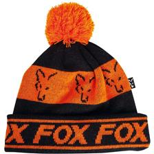 BONNET HOMME FOX BLACK & ORANGE LINED BOBBLE - ORANGE/NOIR