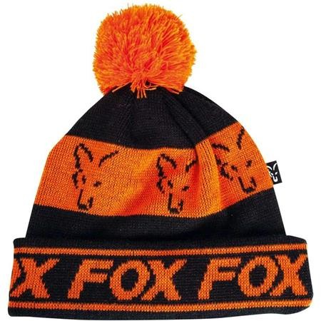 BONNET HOMME FOX BLACK & ORANGE LINED BOBBLE - ORANGE/NOIR