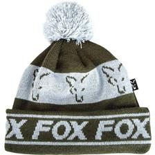 BONNET HOMME FOX GREEN & SILVER LINED BOBBLE - VERT/BLANC