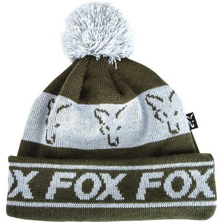 BONNET HOMME FOX GREEN & SILVER LINED BOBBLE - VERT/BLANC