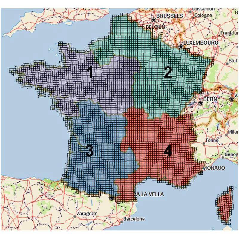 carte de france 1 4 nord-ouest