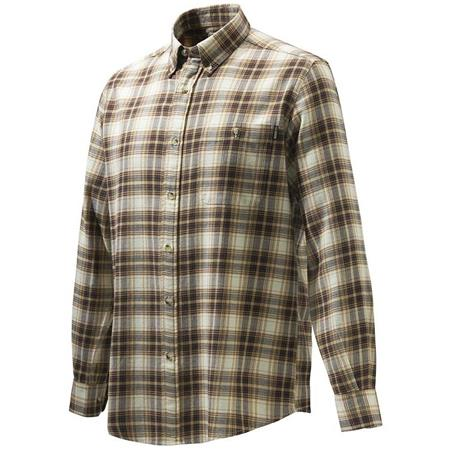 CHEMISE MANCHES LONGUES HOMME BERETTA WOOD FLANNEL BUTTON DOWN SHIRT - BEIGE CARREAUX MARRON