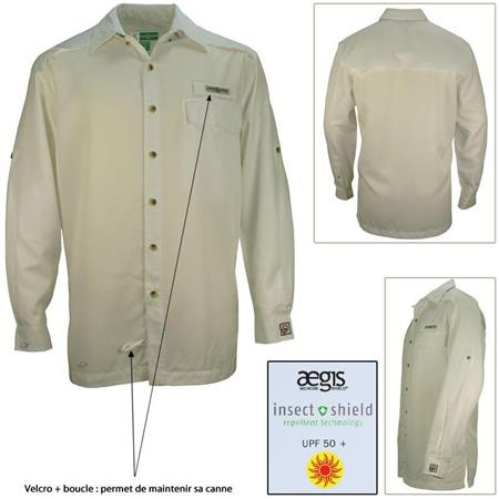 CHEMISE MANCHES LONGUES HOMME HOOK AND TACKLE PROTECTION INSECT SHIELD BEIGE