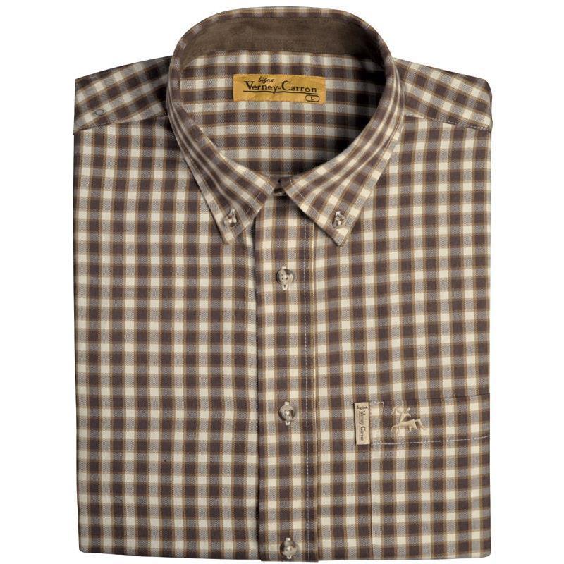chemise manches longues homme ligne verney carron voiron carreaux marron. Black Bedroom Furniture Sets. Home Design Ideas