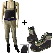 Habillement Pierre Sempé ENSEMBLE WADERS RESPIRANT 5 COUCHES + CHAUSSURES WAD/M+BOOT42
