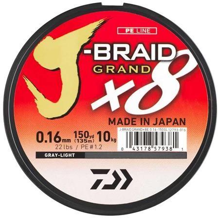 GEVLOCHTEN LIJN DAIWA J-BRAID GRAND X8 GRIJS - 135M