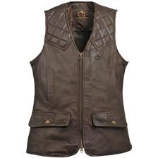 GILET CHASSE FEMME CLUB INTERCHASSE CUIR LOUISE - MARRON