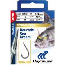 Hameçons Hayabusa DAURADE H.CHN121 BLACK MAT AVEC NOEUD PYRENEEN 120CM N°1/0