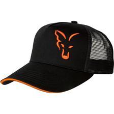 HERRENKAPPE FOX BLACK & ORANGE TRUCKER CAP SCHWARZ