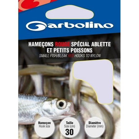 HOOK TO NYLON GARBOLINO RED SPECIAL BLEAK AND SMALLS FISHES - PACK OF 10