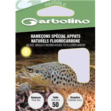 HOOK TO NYLON GARBOLINO SPECIAL APPATS NATURELS FLUOROCARBONE - PACK OF 10 - N°6 - 16/100