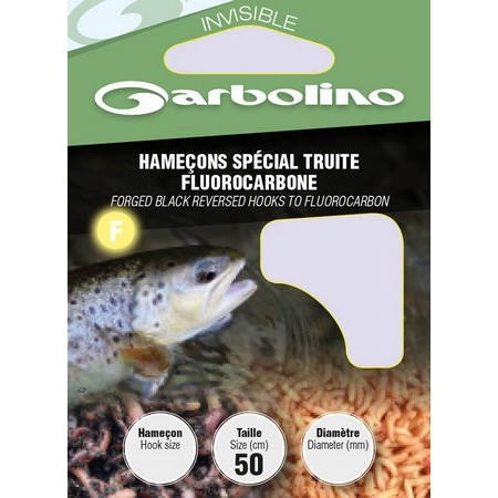 HOOK TO NYLON GARBOLINO SPECIAL TRUITE FLUOROCARBONE - PACK OF 10