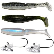 KIT LEURRES SOUPLE GAMBLER GO FISH EAU DOUCE NATUREL EZ SWIMMER 4""