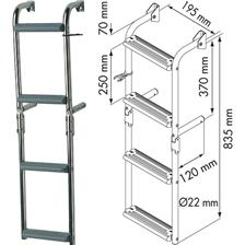 LADDER FOR NARROW TRANSOM 90° CROOK PLASTIMO