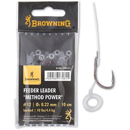 LEADER BROWNING FEEDER METHOD POWER PELLET BAND WITH HOOK - PACK OF 6
