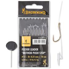 LEADER BROWNING FEEDER METHOD PUSH STOP WITH HOOK - PACK OF 8