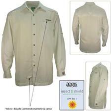 LONG SLEEVED-SHIRT HOOK AND TACKLE PROTECTION INSECT SHIELD BEIGE