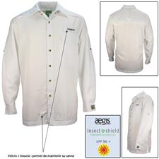 LONG SLEEVED-SHIRT HOOK AND TACKLE PROTECTION INSECT SHIELD WHITE