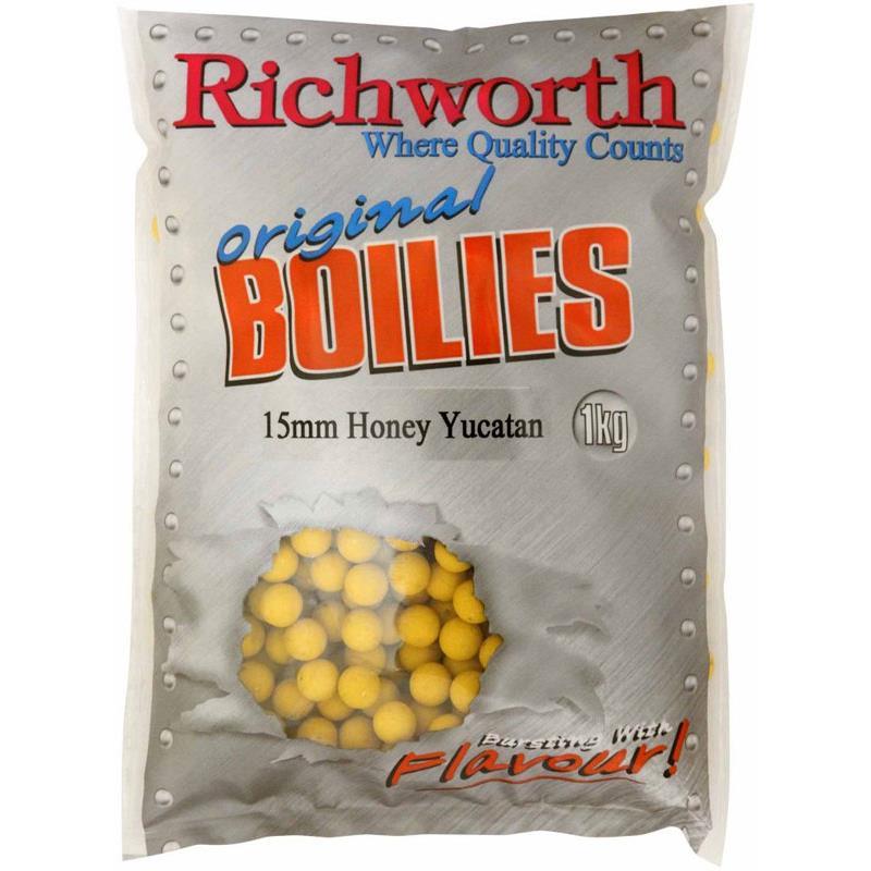 Baits & Additives Richworth ORIGINAL RANGE BOUILLETTE 5KG 15MM HONEY YUCATAN