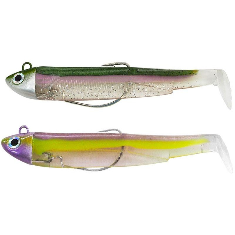 LEURRE SOUPLE ARME FIIISH DOUBLE COMBO BLACK MINNOW 90 + TETE PLOMBEE SEARCH - 8g - Green Morning - Purple Impact