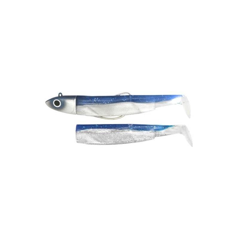 KIT LEURRES SOUPLES ARMES FIIISH COMBO BLACK MINNOW 140 + TETE PLOMBEE OFF SHORE - Bleu