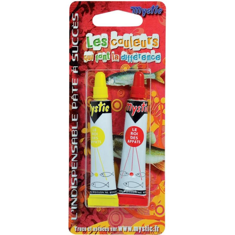 Baits & Additives Mystic PATE CLASSIQUE BLISTER INCONTOURNABLES : 1 TUBE ROUGE + 1 TUBE JAUNE
