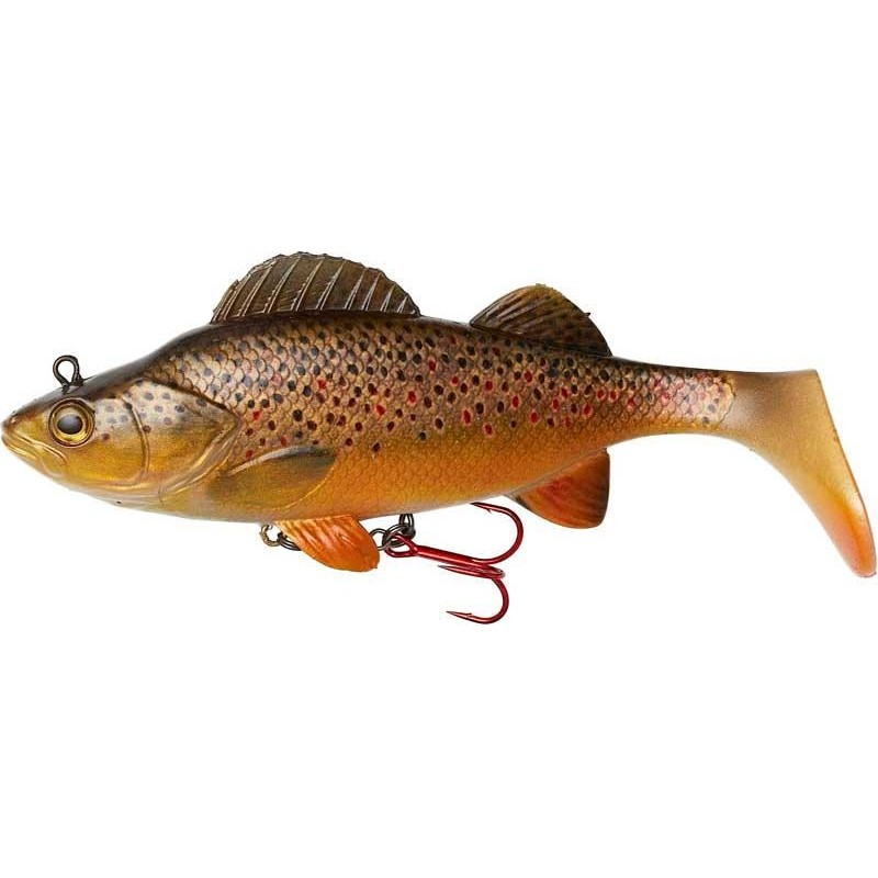 Lures Effzett NATURAL PERCH PADDLE TAIL 14CM BROWN TROUT
