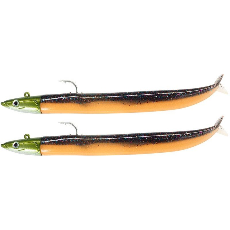 DOUBLE COMBO CRAZY SAND EEL 150 + TETE PLOMBEE OFF SHORE DARK EEL