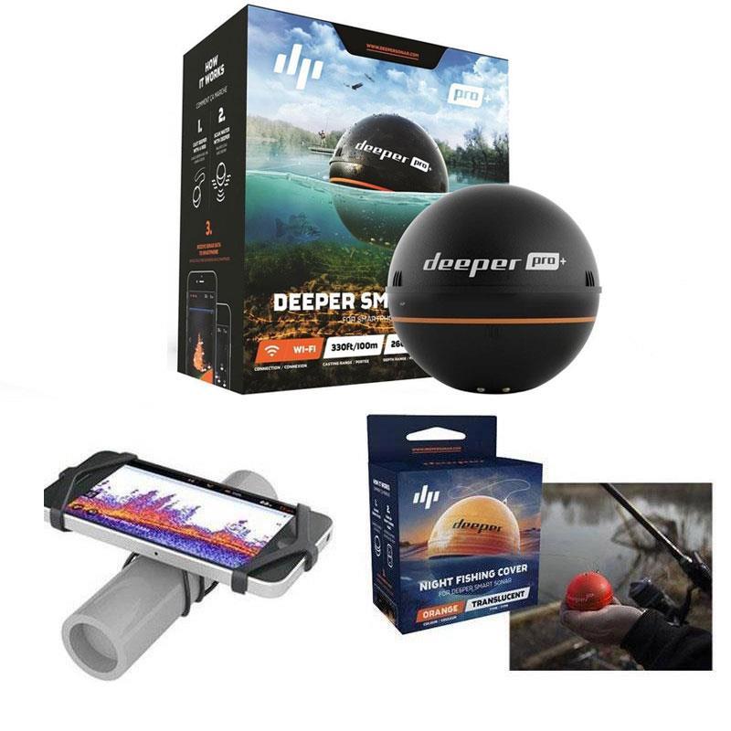 Deeper  SMART SONAR PRO + Deeper Smart Sonar Pro+ + Support de fixation Smartphone sur canne + Couvercle Orange pour pêche de nuit