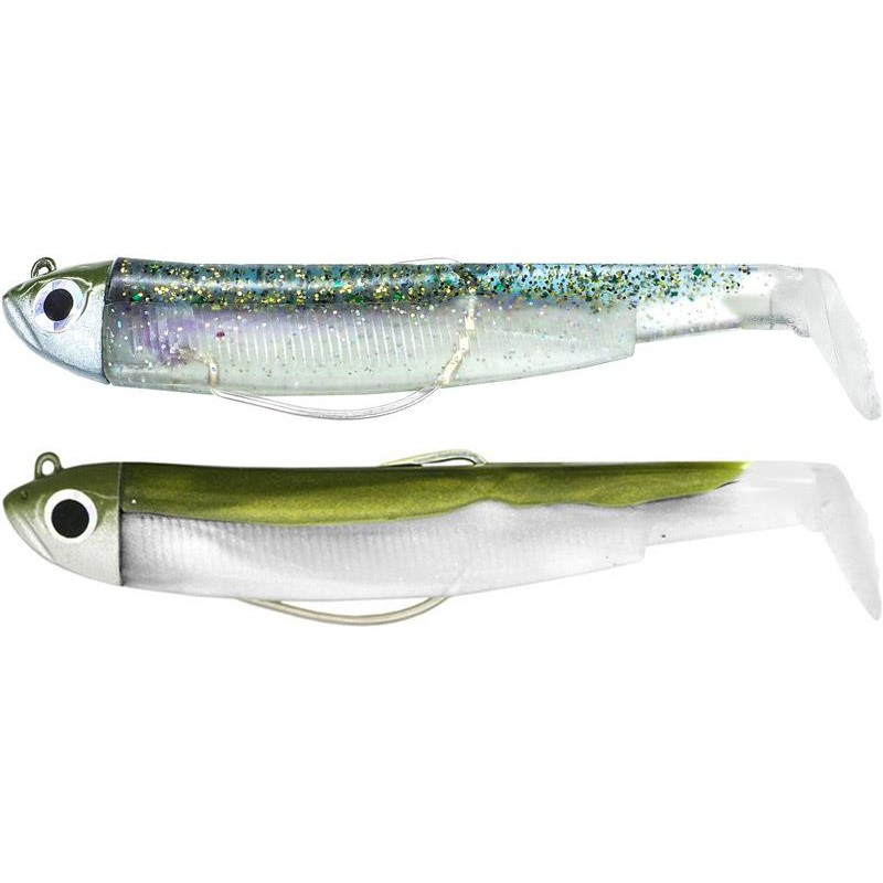 DOUBLE COMBO BLACK MINNOW 70 + TETE PLOMBEE SHORE KAKI GHOST MINNOW - KAKI - GHOST MINNOW