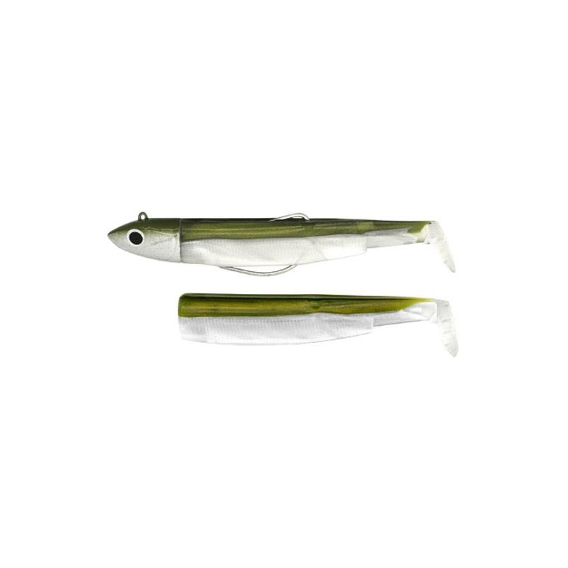 COMBO BLACK MINNOW 90 + TETE PLOMBEE OFF SHORE KAKI