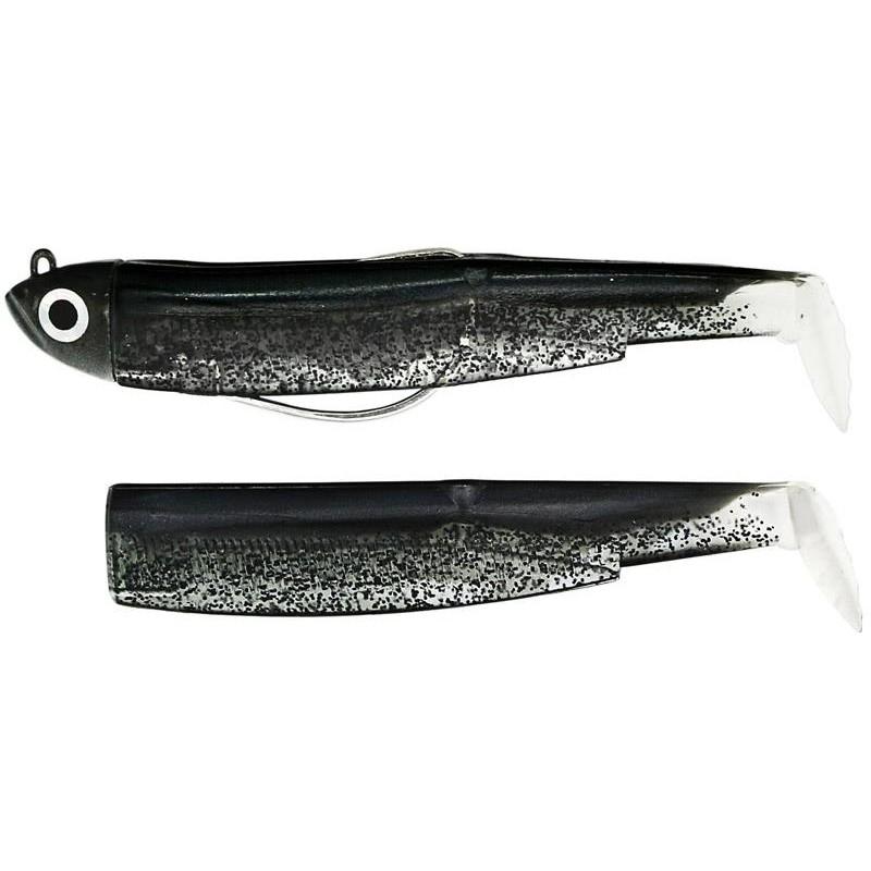 Fiiish  COMBO BLACK MINNOW 120 + TETE PLOMBEE SHORE Noir