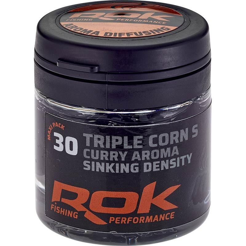 Baits & Additives Rok Fishing TRIPLE CORN S SINKING DENSITY MAIS ARTIFICIEL + TREMPAGE NOIR