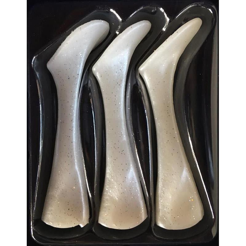 QUEUE DE RECHANGE HEADBANGER SHAD REPLACEMENT TAILS - PAR 3 - Pearl white - 16cm