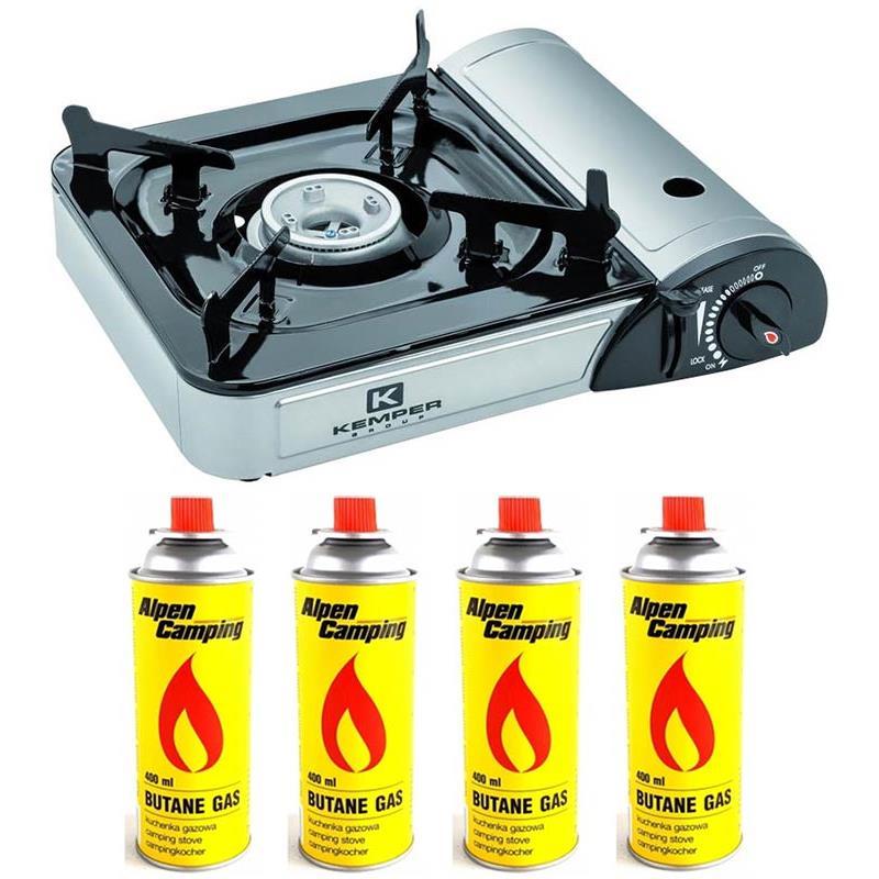 RECHAUD A GAZ KEMPER SMART - Réchaud + 4 Cartouches de gaz