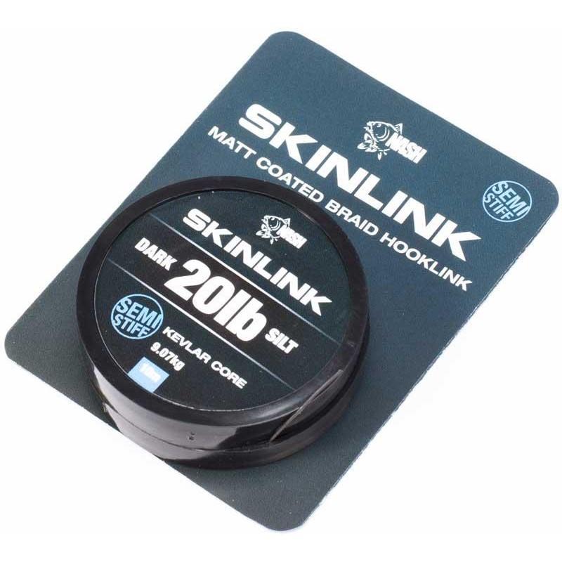 TRESSE A BAS DE LIGNE NASH SKINLINK SEMI-STIFF - 10M - Silt - 20lbs