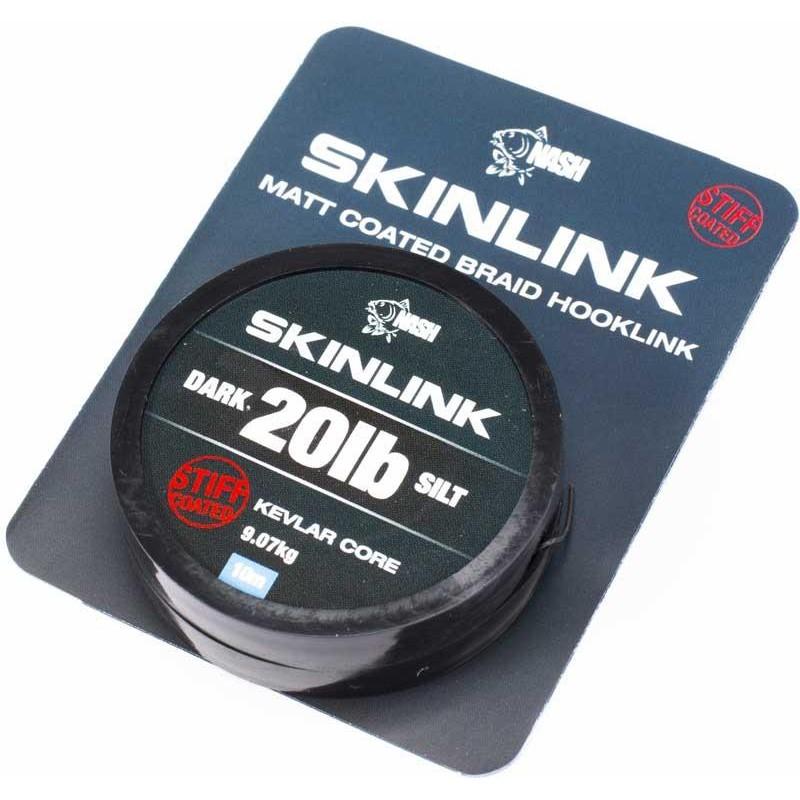 TRESSE A BAS DE LIGNE NASH SKINLINK STIFF - 10M - Silt - 20lbs