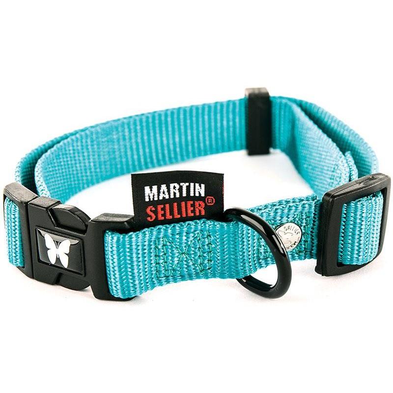 COLLIER CHIEN NYLON UNI REGLABLE MARTIN SELLIER - Turquoise - 20-30cm