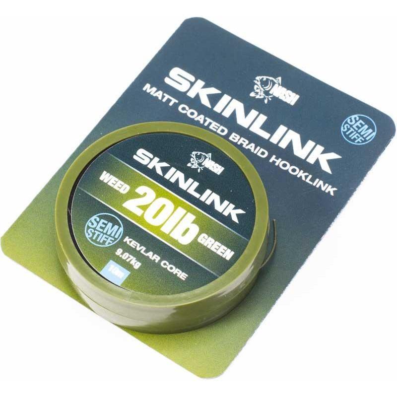 TRESSE A BAS DE LIGNE NASH SKINLINK SEMI-STIFF - 10M - Weed - 20lbs