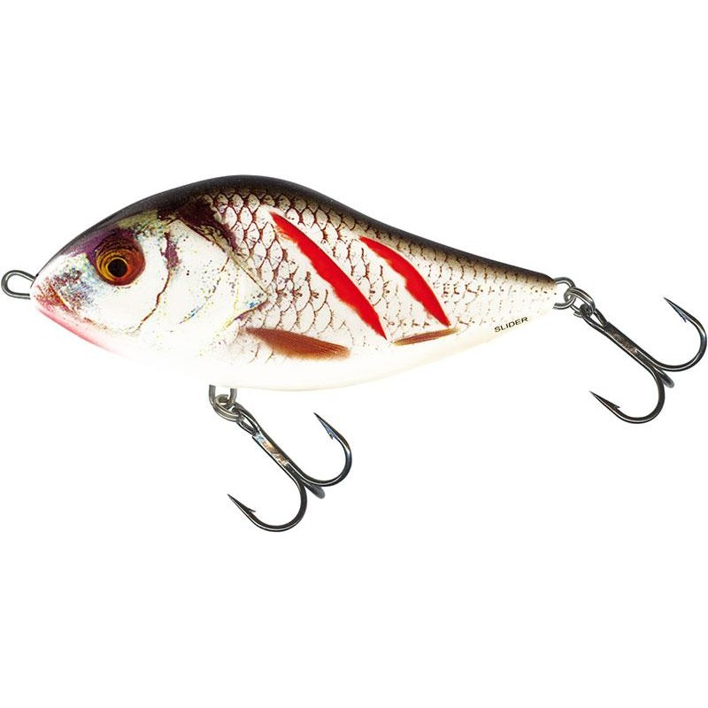 LEURRE COULANT SALMO SLIDER SINKING - 12CM - Wounded Real Grey Shiner