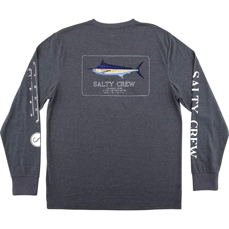 TEE SHIRT MANCHES LONGUES HOMME SALTY CREW MARLIN MOUNT LS TECH TEE - GRIS