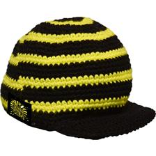 MAN CAP BLACK CAT CROCHY VISOR - YELLOW BLACK